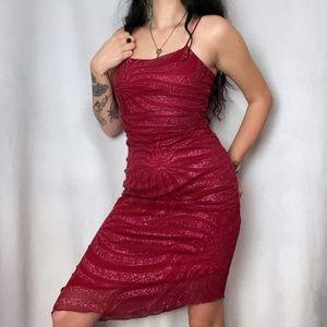 1990s-Y2K SPARKLE CHIFFON RED TIGER STRIPE DRESS